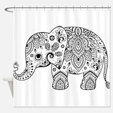 Black Floral Paisley Elephant Illus Shower Curtain
