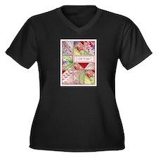 Shana's Quilt Women's Plus Size V-Neck Dark T-Shir