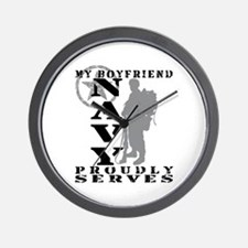BF Proudly Serves 2 - NAVY Wall Clock