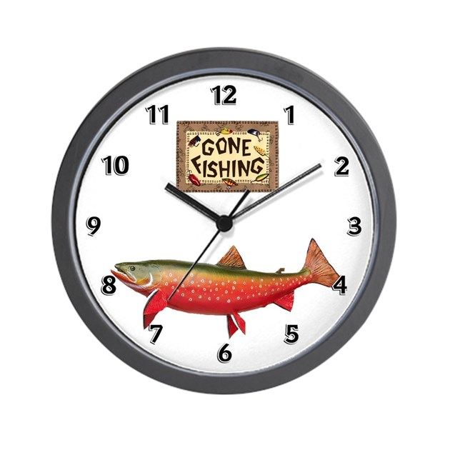 Gone fishing wall clock by bonfiredesigns for Fish wall clock