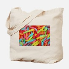 Colorful gummi worm candy Tote Bag