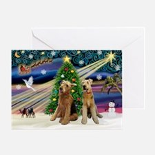 Xmas Magic-Airedale Pair Greeting Card