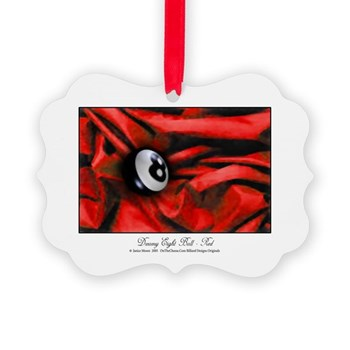 8 Ball On Christmas Red Velvet Ornament