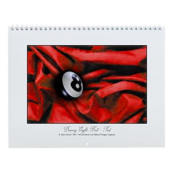 8 Ball On Red Velvet Wall Calendar by OTC Billiard Designs