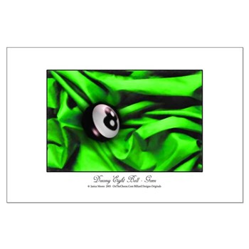 8 Ball On Green Satin Small Poster