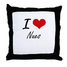 I love Nues Throw Pillow