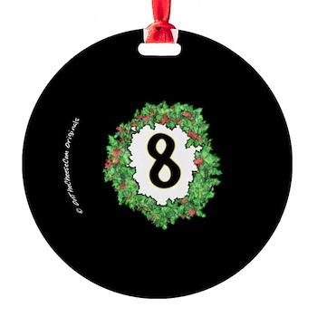 8 Ball Christmas Wreath Ornament by OTC Billiards Designs