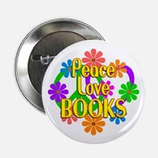 "Peace Love Books 2.25"" Button (10 pack)"