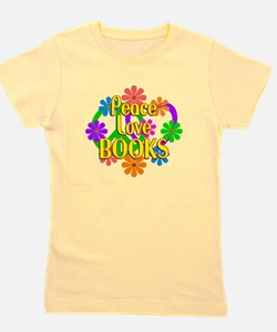 Peace Love Books Girl's Tee