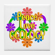 Peace Love Geology Tile Coaster