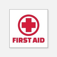 "First aid Square Sticker 3"" x 3"""