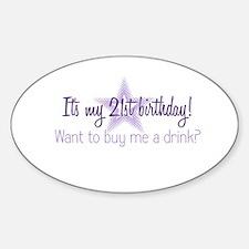 21 Birthday Oval Decal