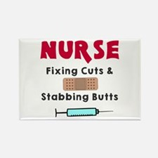 Nurse fixing cuts stabbing butts Rectangle Magnet
