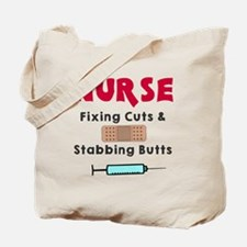 Nurse fixing cuts stabbing butts Tote Bag