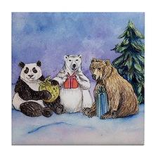 Holiday Bears Art Tile Coaster