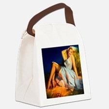 Cool Pin up girl reading Canvas Lunch Bag