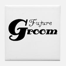 Future Groom Black Tile Coaster
