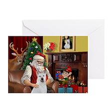 Santa & Akita Greeting Cards (Pk of 20)