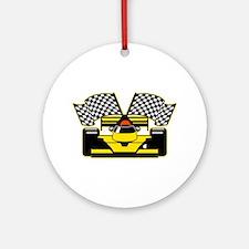 YELLOW RACECAR Round Ornament