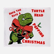 Turtle Head Popping Christmas Throw Blanket
