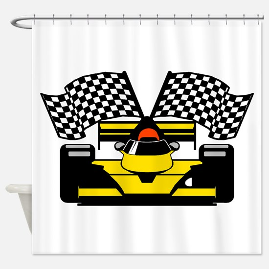 YELLOW RACECAR Shower Curtain