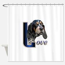 Love Bluetick Coonhound Shower Curtain