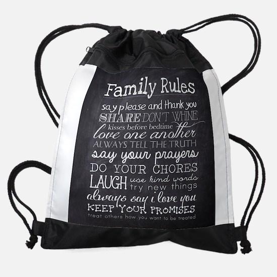 Family Rules Drawstring Bag