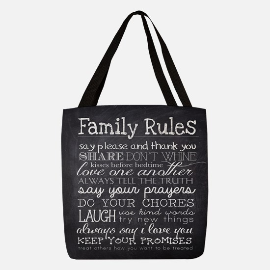 Family Rules Polyester Tote Bag