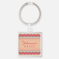 Girly Pastel Chevron Personalized Square Keychain