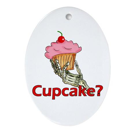 Skeleton Hand Cupcake Oval Ornament