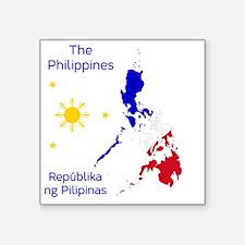 """Philippines Map Illustratio Square Sticker 3"""" x 3"""""""