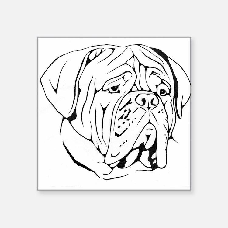 "Cute Bordeaux dog Square Sticker 3"" x 3"""