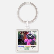 WRWM PURRFECT DAY FOR A TRAIN RIDE Square Keychain