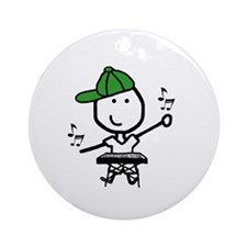 Boy & Keyboard Ornament (Round)