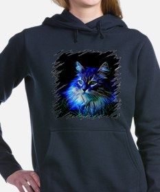 Unique Black cat in blue willow bowl Women's Hooded Sweatshirt
