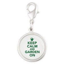 Keep calm and garden on Silver Round Charm