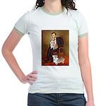 Lincoln's 2 Corgis (Pem) Jr. Ringer T-Shirt