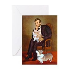 Lincoln's 2 Corgis (Pem) Greeting Card