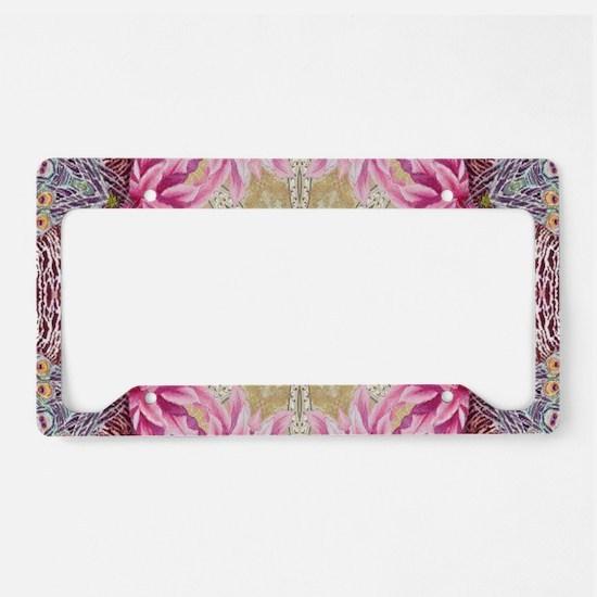 zen pink lotus flower hipster License Plate Holder
