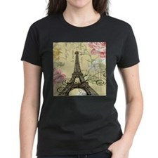 floral paris vintage eiffel tower T-Shirt