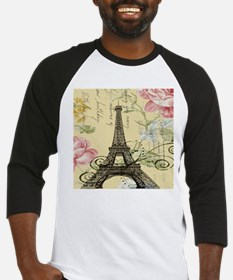 floral paris vintage eiffel tower Baseball Jersey