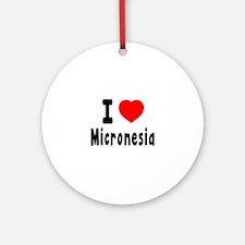 I Love Micronesia Round Ornament
