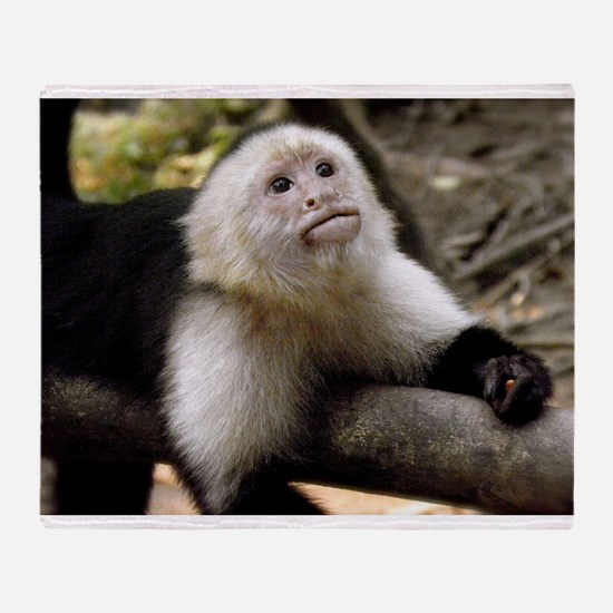 Baby Capuchin Monkey Throw Blanket