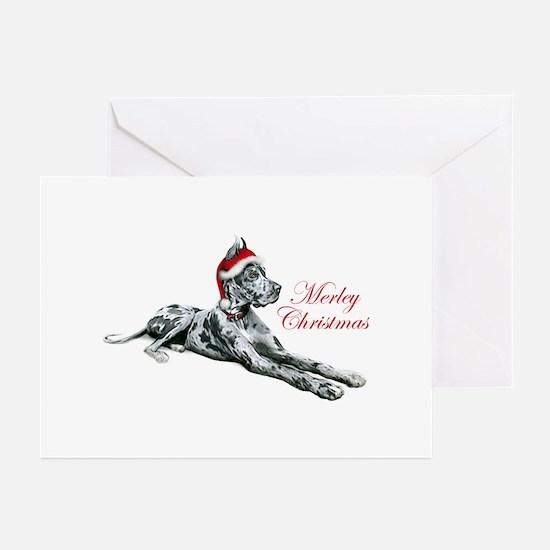 Great Dane Merley Christmas Greeting Cards (Pk of