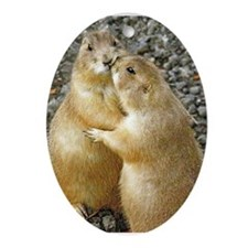 Prairie Dog Kiss Ornament (Oval)