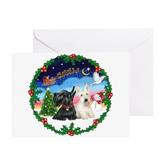 Santa's Take Off (2) = 2 Scotties Greeting Card