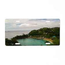Scenic caribbean beach Aluminum License Plate