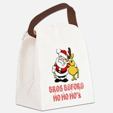 Santa And Rudolph Canvas Lunch Bag