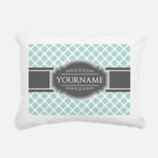 Mint and Gray Moroccan Q Rectangular Canvas Pillow