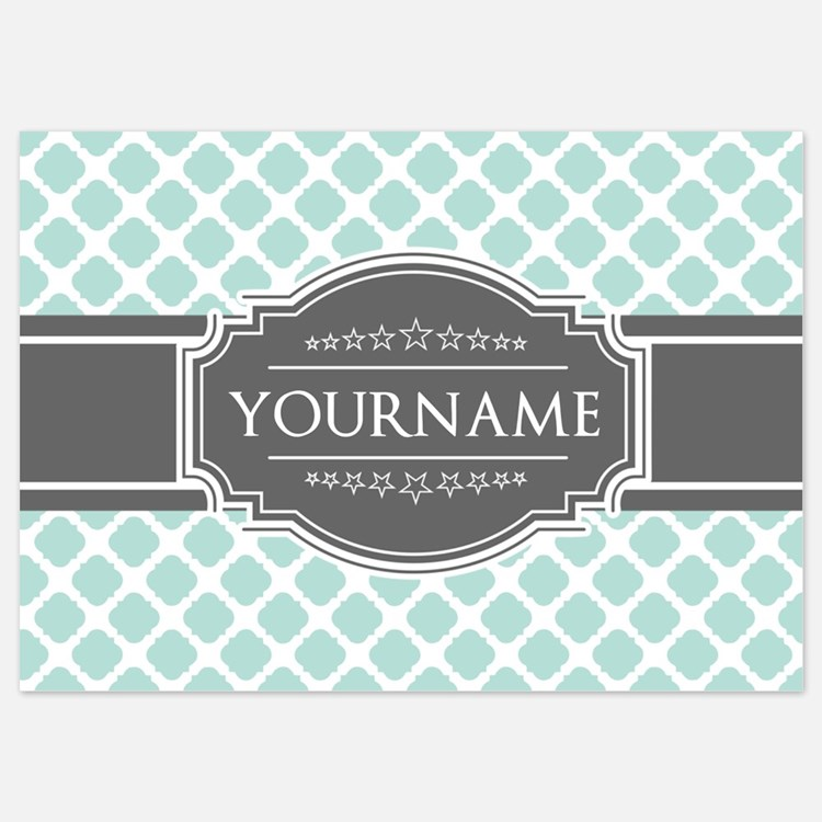 Mint and Gray Moroccan Quatrefoil M Invitations